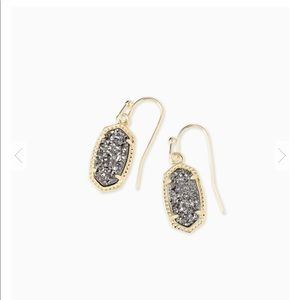 Lee Gold Drop Earrings In Platinum Drusy
